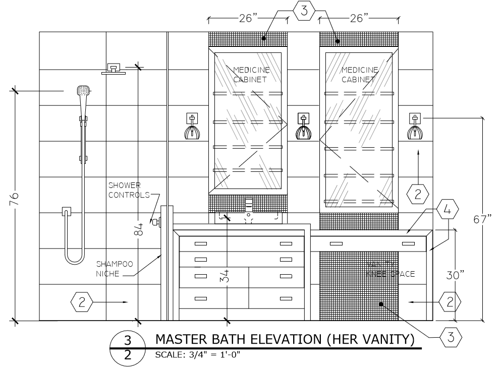 Master Bath Elevation Plan showing a Vanity